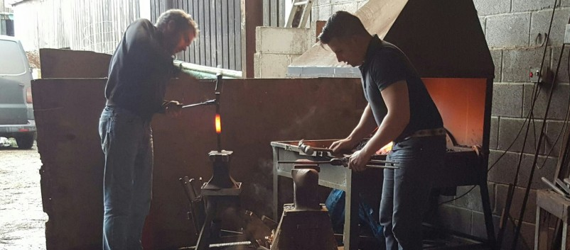 Onsite forge and 2 farriers